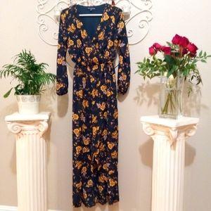 NEW Navy Floral Wrap Hi-Low Maxi Dress